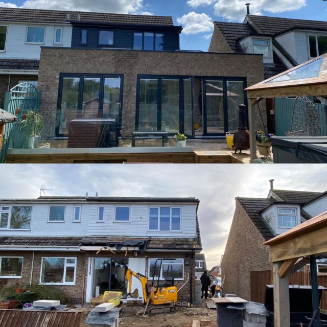 Almost finished this single story extension in Bottesford. It is going to make such an amazing light space with 2 sets of bi-folding doors and 2 huge lanterns. Plus a downstairs shower room and an additional downstairs bedroom within the side extension. #aluminiumwindows #aluminiumbifoldingdoors #aluminiumlanterns @freefoambuildingproducts #nottinghambuilders #glassbalustrade #intergratedblinds
