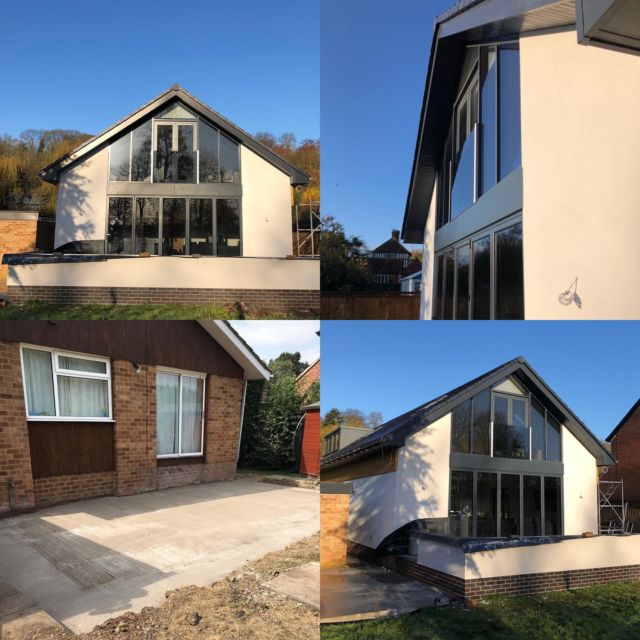 Rear elevation before and after photos of a large extension/loft extension/renovation we built in Bulcote. Large aluminium windows and doors built into the new rear extension give loads of natural light into the master bedroom and en-suite. #builders #nottinghambuilders #construction #aluminiumwindows #aluminiumdoors @federationofmasterbuilders