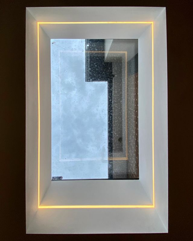 Love this aluminium flat roof window and recessed led light detail at our mapperley job. @arcled_ #flatroofwindow #ledlights #gypsum #nottinghambuilders #construction #aluminiumwindows #lightingideas