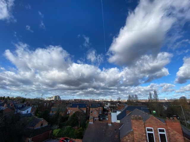 Roof repair with a view! Nottingham city skyline, doesn't show the 40 mph freezing cold wind! @officialnffc @trentbridge @greens_windmill #nottinghamcity @nottinghamshirelive @westbridgfordwirenews