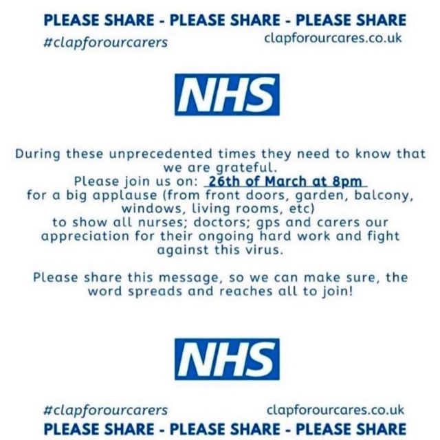 Show your support for the NHS tonight. Will will be standing outstanding clapping for the amazing work NHS do for us!  We ❤️ you! #nhs #coronavirus #clapfornhsstaff