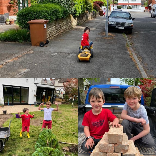 Going to miss grafting in the garden  with these two! #apprenticeship #homeschooling #nottinghambuilders @federationofmasterbuilders